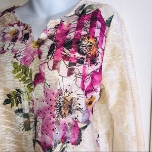 Alfred Dunner Floral RHINESTONE Tunic-Sm